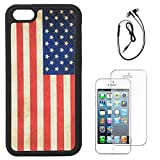 DMG Flexible Soft TPU Back Cover Case For Apple IPhone 5/5S (US Flag) + Black Earphones + Matte Screen