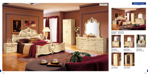 ESF Barocco Traditional Ivory Color Classic Italian King Size Bedroom Set (Italian Bed Furniture compare prices)