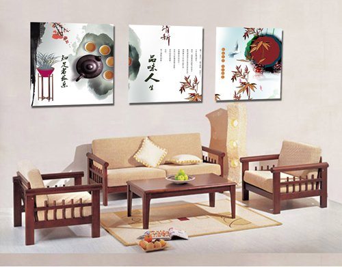 Espritte Art-Huge Chinese Tea Art Picture Painting On Top Quality Canvas Print Stretched And Framed, Modern Home Decorations Wall Art Set Of 3 Each Is 50*50Cm #Cy-585