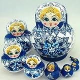 マトリョーシカ 人形 10個組 置物 雑貨 ロシア伝統 (ブルー, フリー)
