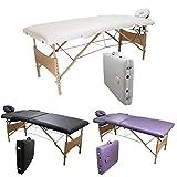 Linxor France ® Table de massage pliante 2 zones légère en bois + accessoires et housse de transport / Norme CE...