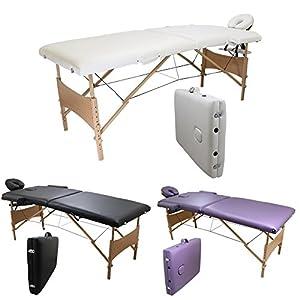 Linxor France ® Table de massage pliante 2 zones légère en bois + accessoires et housse de transport / Norme CE