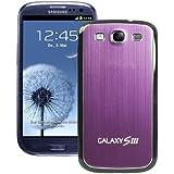 xubix Akkudeckel für Samsung i9300 Galaxy S3 brushed Metall Aluminium - mit schwarzem Rand / Lila
