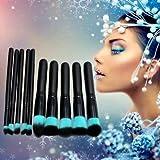 10Pcs Pro Face Powder Contour Cosmetic Foundation Eyeshadow Makeup Brushes Set Kit