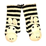 Agan Traders Wool Animal Mitten Zebra Black/White OneSize