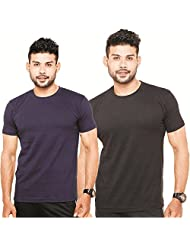 Fleximaa Men's Round Neck T-Shirt Plain Combo Offer (Pack Of 2) - Navy Blue & Black Color. Sizes : S-38, M-40,...
