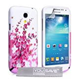 Yousave Accessories Silicone Gel Cover Case for Samsung Galaxy S4 Mini - Floral Beeby Yousave Accessories