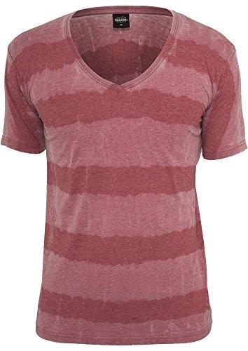 Urban Classics TB532 Fantasy Stripe Burnout V-Neck Tee T-shirt Collo V Manica Corta (Ruby, M)
