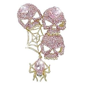 Generisches österreichisches Kristall moderne Totenkopf Schädel Spinnennetz Brosche Modesschmuck Pink Gold-Ton N02143-3