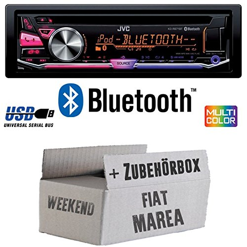 Fiat Marea & Weekend 185 - JVC KD-R971BT - Bluetooth CD/MP3/USB MultiColor Autoradio - Einbauset