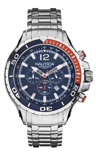 Nautica NST 02 A26535G - Reloj cronógrafo de cuarzo para hombre con correa de acero inoxidable, color plateado