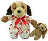 Childrens Christmas Stuffed Animal Dog in Candy Cane Pajamas Holding Puppy Doll Paw