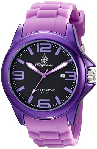 Burgmeister Fun Time Women's Quartz Watch with Black Dial Analogue Display and Purple Silicone Strap BM166-090A