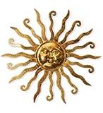 Shimmering Gold Metal Sun Wall Hanging
