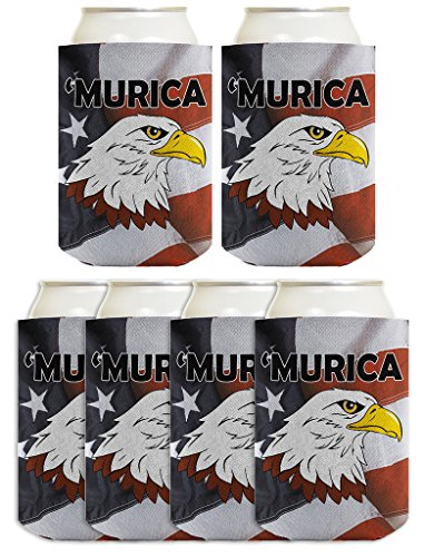 4th of July Funny Beer Coolie Murica Bald Eagle American Flag 6 Pack Can Coolies