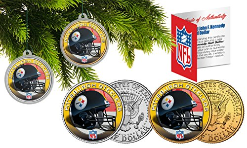 PITTSBURGH STEELERS Colorized JFK Half Dollar 2-Coin Set NFL Christmas Ornaments from SteelerMania