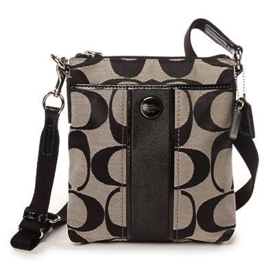 Coach 48806 Black and white Signature Stripe Swingpack File Cross-body Bag