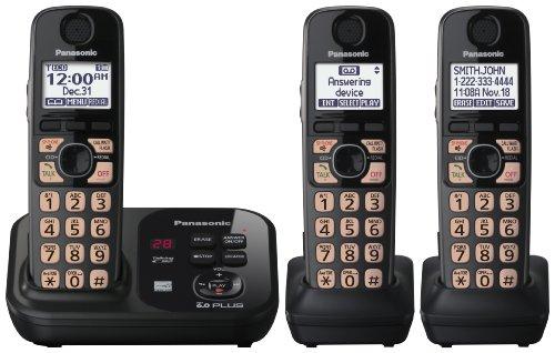 Panasonic Cordless Phone KXTG4733B DECT 6.0 Plus Expandable Three Handset with Digital Answering System