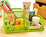 Easybuystore Multipurpose Metal Mesh 3 Compartment Desk Organizer Office Supply Caddy (Green)