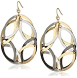"""Steve Madden """"Mixed Metallica"""" Mixed Metal Interlinked Oval Round Drop Earrings"""