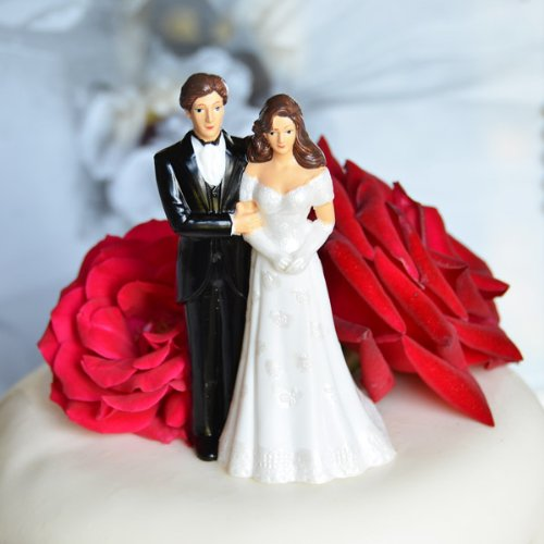 Bride and Groom Couple Figurine Cake Topper - Light Complexion w/ Semi Dark Hair