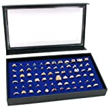 72 Ring Blue Jewelry Box Display Case Magnetic Lid New