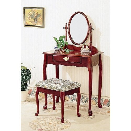 CHERRY FINISH WOOD VANITY SET - TABLE WITH MIRROR AND BENCH #AD5126-CH