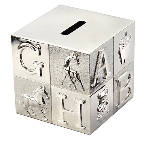 Elegance Silver Silverplated Nursery Block Money Bank - 1