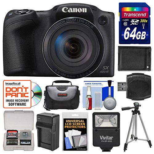Canon PowerShot SX420 IS Wi-Fi Digital Camera (Black) with 64GB Card + Case + Flash + Battery + Charger + Tripod + Kit (Canon Sx 50 compare prices)