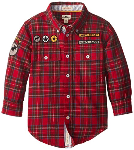 Hatley Little Boys' Button Down Shirt, Red, 3 back-1062264
