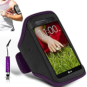 N+ INDIA LG X screen pictures Adjustable Armband Gym Running Jogging Sports Case Cover Holder With Mini Touch Stylus pen Purple