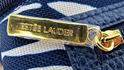 Estee Lauder Navy Blue and White Cosmetic Bag