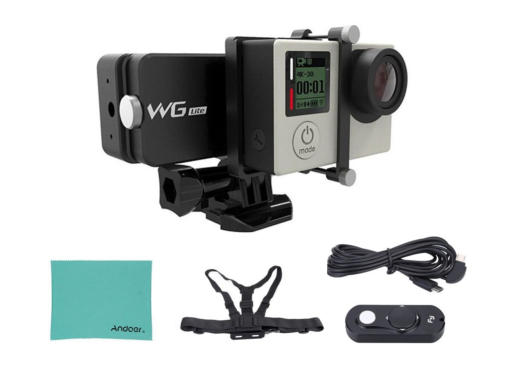 New Arrival Feiyu WG Lite Single Axis Wearable Gimbal Stabilizer for GoPro Hero 4/3+/3 and Other Cameras with Similar Dimensions + Remote Control + Elastic Body Chest Strap + Andoer Cleaning Cloth