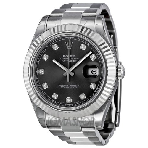 Rolex Datejust II Silver Dial White Gold Fluted Bezel Mens Watch 116334SSO