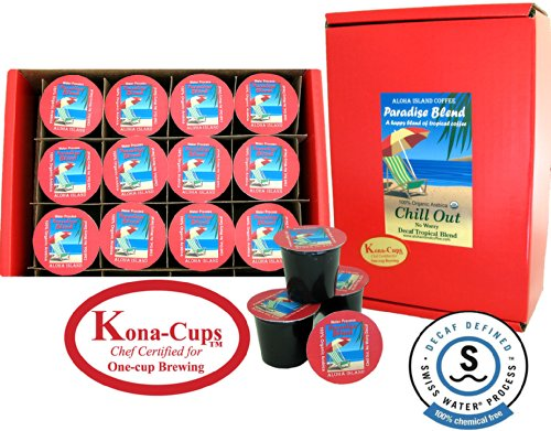 12 K-Cups Of Water Process Decaf Organic Arabica Tropical Coffee, For K-Cup Brewing, From Aloha Island Coffee