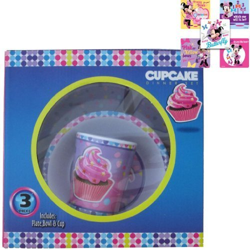 Cupcake 3 Piece Dinner Gift Set in Gift Box - Children's Dinnerware Set 1 Plate, 1 Bowl & 1 Tumbler Cup PLUS 5 Bonus Minnie Bow-tique Stickers - Best Valentine's Day Gift for Girls and Best Holiday Gifts For 2014 - 1