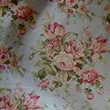 "54"" Wide Fabric ""Bridgewater Floral, Color Bright Aqua"" Waverly Fabric By the Yard"