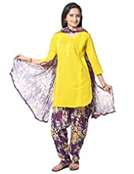 Utsav Fashion Women's Yellow Cotton Readymade Salwar Kameez-Small