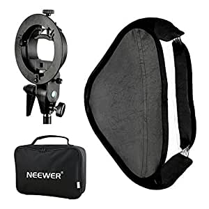 "Neewer Photo Studio Multifunctional 24x24""/60x60cm Softbox with S type Speedlite Flash Bracket Mount and Carrying Case for Portrait or Product Photography"
