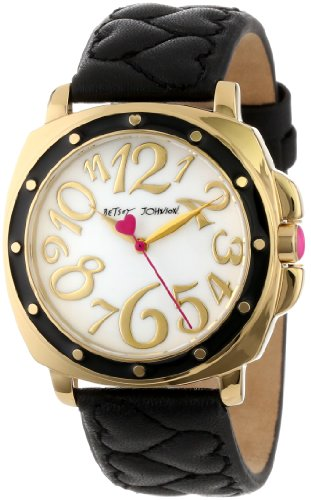 Betsey Johnson Women's BJ00044-02 Analog Black Quilted Heart Strap Watch