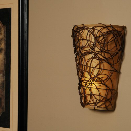 Exciting Lighting EZ5110 Battery Powered Fluted LED Wall Sconce with Interlocking Twine and ...