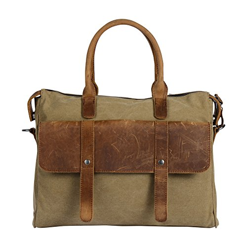 Wonder Youth Vintage Laptop Messenger Bag Briefcase Canvas Leather Crossbody Shoulder Bag - Khaki (Hello Kitty Chrome Book Cover compare prices)