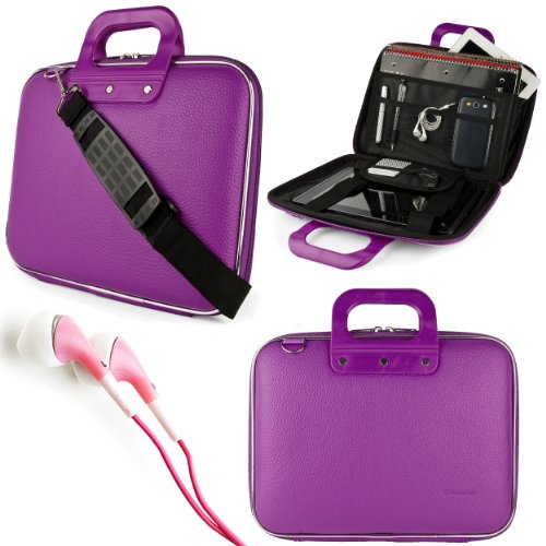 "Purple SumacLife Cady Bag Case w/ Shoulder Strap for Supersonic 9"" Tablet + Pink VanGoddy Headphones at Electronic-Readers.com"