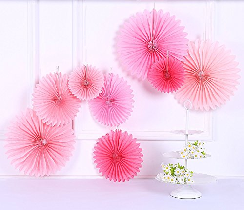Sorive Pack of 8 Hanging Party Wedding Decorations Pink Paper Fans and Tassel Garland Set (Pink Fan Decoration compare prices)