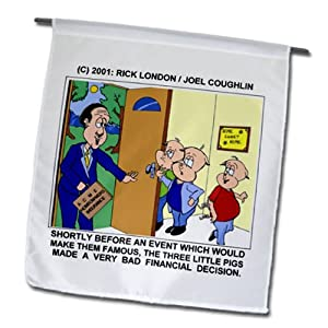 fl_1383_1 Londons Times Funny Animals Cartoons - Three Little Pigs And Homeowners Insurance - Flags - 12 x 18 inch Garden Flag
