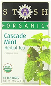 Stash Tea Organic Cascade Mint Herbal Tea, 18 Count Tea Bags in Foil (Pack of 6)