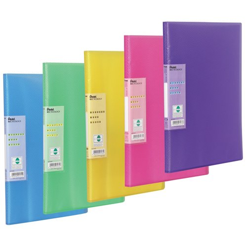 pentel-30-pocket-display-book-vivid-pack-of-5-folders-assorted-colours