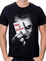 Batman Joker Why So Serious - T-shirt - Imprimé - Col rond - Manches courtes - Homme