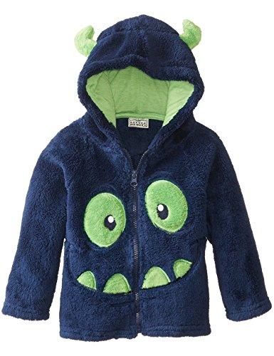 Little Sorrel Bambino Felpe con cappuccio Ricami Fumetto Coral Velluto Zip Sweater, Blu marino, 4-5 anni