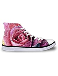 FOR U DESIGNS Vintage Rose Floral Print High-Top Lace Up Fashion Sneaker For Women Girls Red 7 B(M) US=EU 37